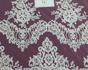 Ivory lace fabric, Embroidered lace, French Lace, Wedding Lace, Bridal lace, White Lace, Veil lace, Lingerie Lace, Alencon Lace EVS071C