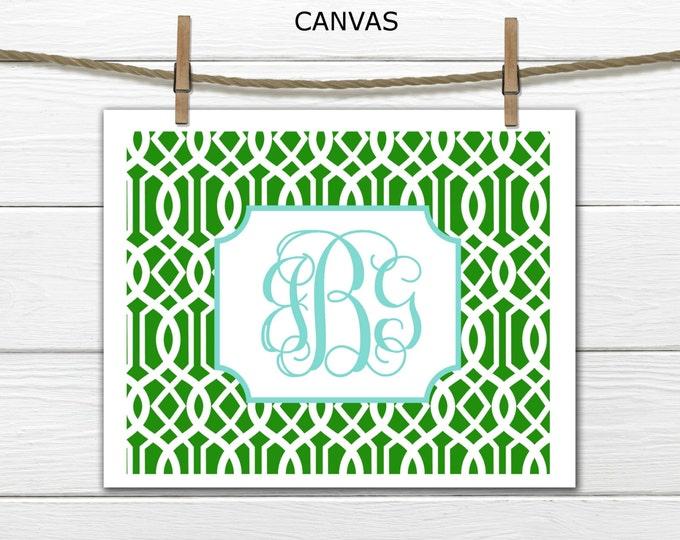 Monogram on Lattice  Custom Canvas Prints - Dorm Decor Canvas - Choose Size and Colors