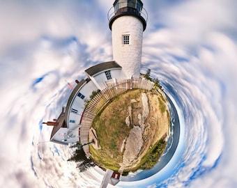 Pemaquid Point Light  Maine Coast 16x16 Panographic Spherescape Print on Paper