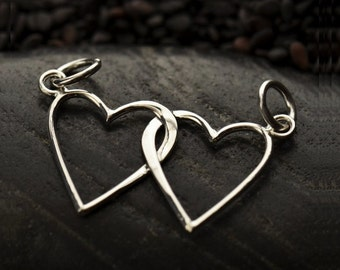 Linked Hearts Sterling Silver Interlocking Hearts, Intertwined Heart Connector Pendant, 2 Heart Link, Sterling Double Hearts, 31x13mm