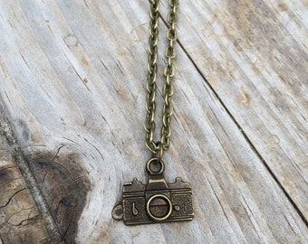 Camera charm on a Bronze Plated Necklace 18 inches, photography necklace, photographer necklace