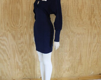 Vintage 1980's AREA CODE Jersey Knit Cotton Silver Leather New Wave Glam Batwing Mini Wiggle Dress Small Medium S / M
