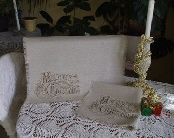 Christmas Linen Placemats - Set of 4