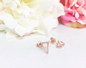Open Triangle Earrings, 3D Geometric Rose Gold Stud Earrings, Gold Pyramid Earrings, Triangle studs, Minimalist Earrings, Gift for her