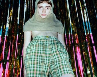 50s women's plaid high waisted shorts / 1950s high waist plaid shorts