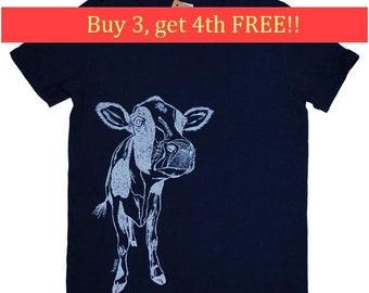Mens T Shirt - Cow T Shirt - Animal Tee Shirts - Illistration Tees - Screen Print Mens Short Sleeve Shirt - Mens Cow Tee Shirt S M L XL XXL