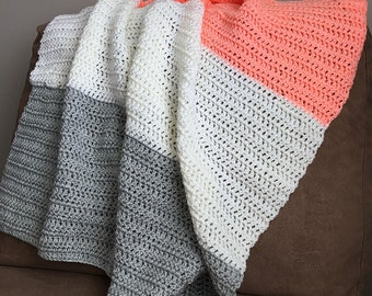 Peach White & Grey Crochet Baby Blanket // Stroller Size // Color Block Blanket // Baby Blanket // Afghan