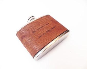 Wood Flask - Real wood hand-typed letterpress! CUSTOM, customize, poetry, hand cut, hand typed, letterpress, typewriter, 3oz pocket flask