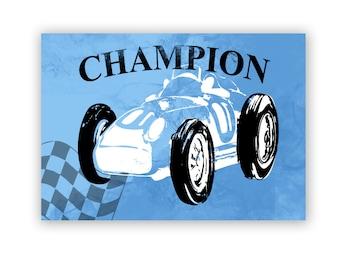 Champion Racing Car - champion , Kids Art Prints, nursery decorating ideas, transport, nursery decor, baby boy nursery