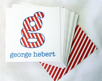 Personalized Calling Cards / Gift Tags / Kids / George Inital & Stripes