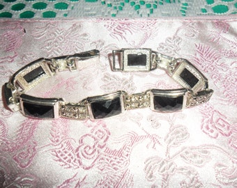 Authentic Vintage Beautiful Black Glass and Rhinestone And Marcasite Silver Bracelet