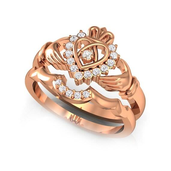 rose gold claddagh ring claddagh ring set claddagh. Black Bedroom Furniture Sets. Home Design Ideas
