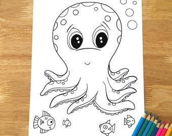 Cute Octopus Coloring Page! Downloadable PDF file!