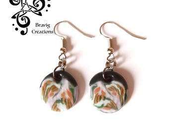 Japanese spring round earrings made from cold porcelain