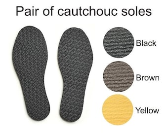 SPRING SALE Coutchouc soles for my handmade slippers - black - brown - yellow