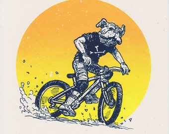 Bike Dog — Mountain Bike — Silkscreened Art Print
