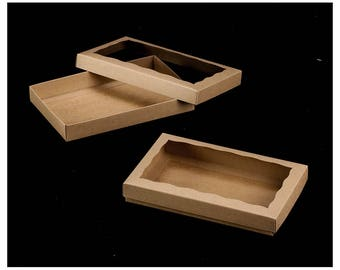 """Package of 12 - 9 1/2"""" x 6"""" x 1 1/4"""" Brown/Brown Two Piece Simplex Box Set, with Window"""