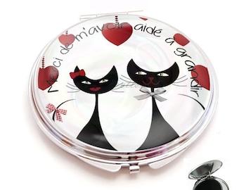 miroir de poche ,sac cabochon resine,l'amour félin /chat merci de m avoir aidé à grandir