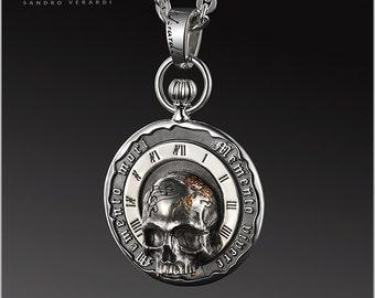 Skull Pendant Silver Biker Vanitas Memento mori - by SANDRO VERARDI /N004