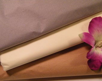 "Tissue Paper BULK ,Grey, Cream , Beige Kraft, Vintage Theme Wedding Pack 72 Sheets  20"" X 30"", Neutral Tones, Craft Supply, DIY Pom Pom"