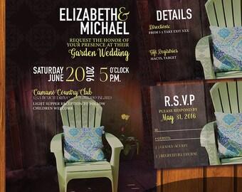 Backyard Wedding Invitation / Garden Wedding Suite / Boho Invitation Suite / Boho / Green / Backyard / Garden