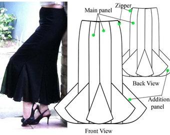 Gored skirt – PDF sewing pattern – Godet maxi skirt– Women's sewing pattern. Sizes 8, 10, 12, 14.