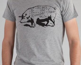 Cochon parties TShirt, tshirt Mens, Mens Boucher t shirt, porc pièces T-Shirt, vêtements pour hommes