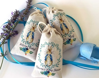 Peter Rabbit Baby Shower LAVENDER SACHET Party Favors | Full Color DELUXE Thank You Gift | Boy Girl Baby Shower | One Year Birthday Set/12