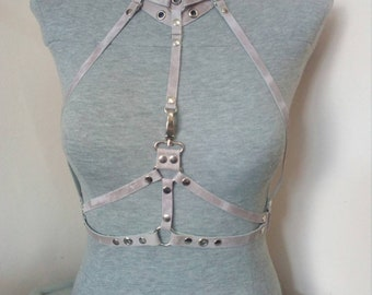 Natural leather harness - pink