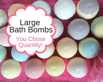 FREE SHIPPING, Large Bath Bombs, Bulk Bath Bomb Favors, Spa Gift Set, Bath Fizzies. Coconut Oil, Epsom Salt, Shea Butter, Christmas Gift,