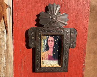 "Frida Kahlo Large Tin Shrine Shadow Box Nicho Handmade in Mexico ""Self Portrait with Loose Hair"" First ""Selfie"" in Paint New Mexico Vintage"