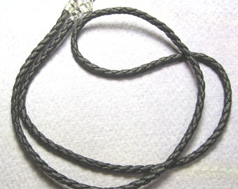 Black braided leather necklace, 3mm  plain and simple with lobster claw clasp..NEW SHOP special.. Silver plate ends and lobster claw clasp