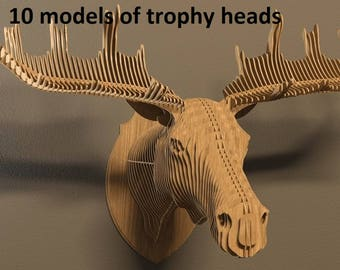 10 models of trophy heads,vector files for laser cutter CNC