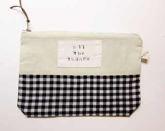 All The Things zip pouch sustainable funny saying makeup bag upcycled color blocked hand stamped funny college girl gift stocking stuffer