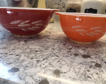 Pyrex Autumn Harvest Mixing Bowls 441 and 442