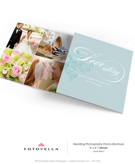 Wedding Photography 5x5 Trifold Brochure Template LOVE STORY