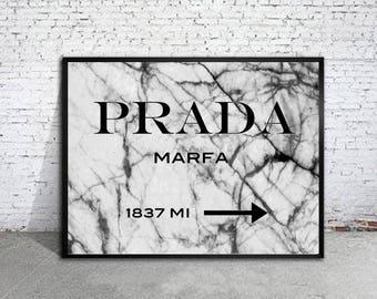 Prada Marfa logo with gold canvas art print Prada poster Prada warecolor Prada home decor Prada wall decor Prada canvas art