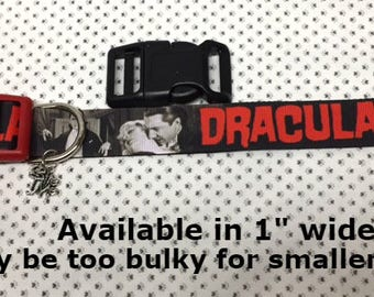 """Count Dracula Bram Stoker 1"""" wide adjustable dog collar with Bite Me charm LEASHES & key fobs available"""