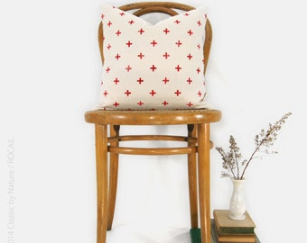 16x16 or 12x18 Red Cross Decorative Pillow Case | Modern Home Decor |  Beige Ecru Hand Block Geometric Pillow Cover, Red Crosses Cushion