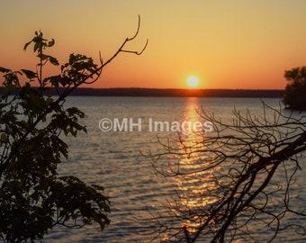 Sunrise over the Lake Photo, Nature Photography, Sunrise Art, Lakeville, Massachusetts, Assawompsett Lake