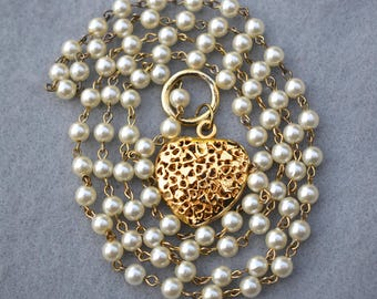 Faux Pearl Chain Long Necklace with Filigree Heart Pendant Vintage