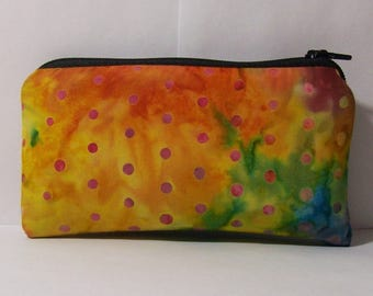"Pipe Pouch, Colorful Dots Bag, Pipe Case, Pipe Bag, Glass Pipe Cozy, Padded Pipe Pouch, Zipper Bag, Trippy, Stoner, Smoke Bag - 5.5"" SMALL"