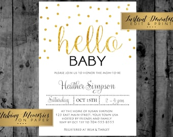 Baby shower instant download, hello baby, gold, glitter, foil ,Confetti, Baby Shower Printable Invitation, INSTANT DOWNLOAD, print yourself