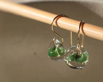 Water Droplet Earrings - Borosilicate Glass Teardrops on Gold Filled Wires in Grass Green - Also Available in Sterling Silver