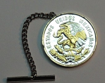 "Mexican Eagle Coin Tie or hat tack, Gorgeous 2-Toned ""Gold & Silver"""