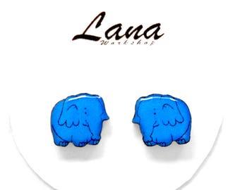 Elephant earrings, earrings elephants, blue elephants, elephants jewelry, elephants clay, animal earrings, blue elephants