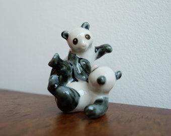 1970's Chinese Two Pandas Playing Porcelain Figurine