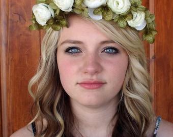 Spring Floral Wedding Costume Head Piece Crown Flower Wreath Ooak Fairy