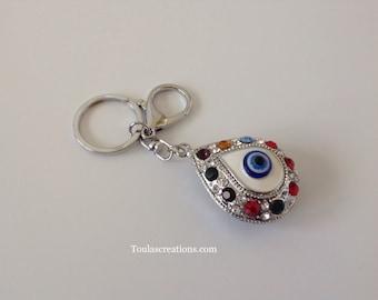 Silver Teardrop Shape Keychain/Teardrop Shape Evil Eye Keychain/Rhinestone Zipper Pull/Evil Eye Bag Charm/rhinestone Silver Pendant/Bff Gift