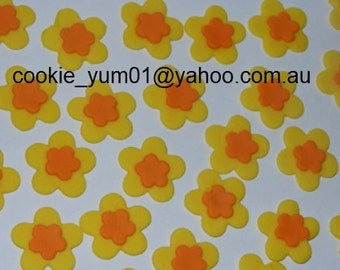 25 edible MIXED FLOWER BLOSSOMS daffodil cute icing cake decorations cupcake topper decoration party wedding anniversary birthday engagement